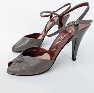 Vintage Nina D'orsay gray leather peep toe heels